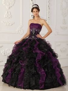 Organza Strapless Purple and Black Quince Dresses with Ruffles and Beads