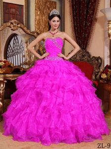 Popular Beaded Fuchsia Quinceaneras Dress with Ruffled Hem in Iquique Chile