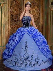 Black and Blue Quince Dress with Embroidery and Pick-ups in Neiva Colombia