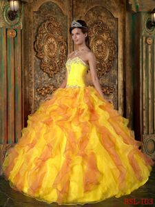 Sweetheart Ruffled Beaded Yellow and Orange Quince Dress for Sale