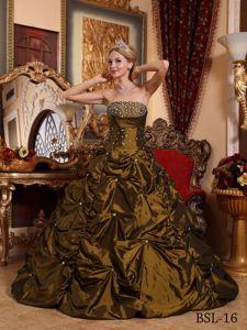 Strapless Beaded Brown Quinceanera Dress in Buenaventura Colombia