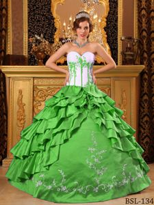 Classy White and Spring Green Tiered Sweet 15 Dress with Embroidery