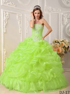 Beaded Ruffled Yellow Green Quinceaneras Dress in Pozo Almonte Chile