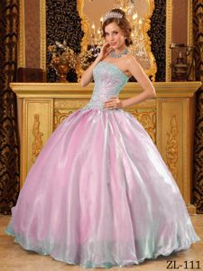 Low Price Strapless Organza Beaded Two-toned Quince Dresses in Vogue