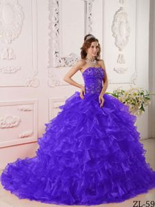 Latest Brush Train Ruffled Purple Quinceanera Gown Dresses with Embroidery