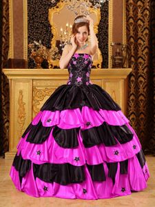 Customized Appliqued Ruffled Sweet 15 Dresses Patterns in Black and Hot Pink
