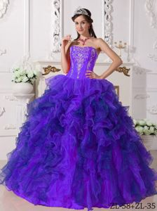 Impressive Ruffled Purple Quinceanera Dress with Embroidery on Discount