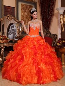 Beautiful Sweetheart Appliqued Ruffled Quinceanera Gowns in Orange
