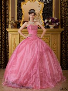 Rose Pink Sweetheart Floor-length Quinceanera Gown with Embroidery in Clear Creek