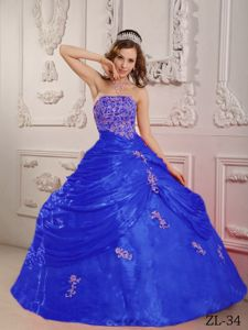 Strapless Princess Sweet Sixteen Quinceanera Dresses in Blue with Appliques in Boling