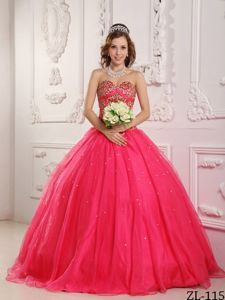 Sweetheart Floor-length Red Quinceanera Gown Dress with Beading and Lace Up Back