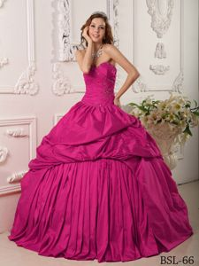 Fuchsia Sweetheart Floor-length Dresses for Quinceanera with Pick-ups and Lace Up
