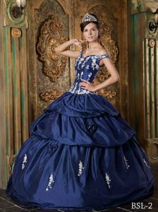 Appliqued Navy Blue Off The Shoulder Floor-length Dress for Quinceanera in Adkins