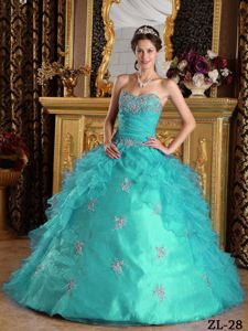 Unique Sweetheart Floor-length Sweet Sixteen Dresses in Aqua Blue with Appliques