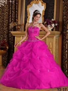 Strapless Floor-length Fuchsia Quinceanera Gown Dress with Appliques and Pick-ups