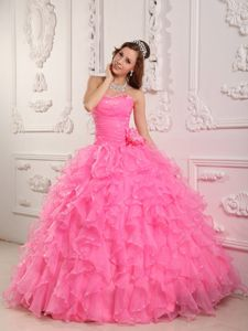 Romantic Rose Pink Sweetheart Floor-length Quince Dresses with Ruffles in Aubrey