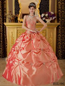 Halter Top Quinceanera Gown in Orange Red with Embroidery and Pick-ups in Bronte