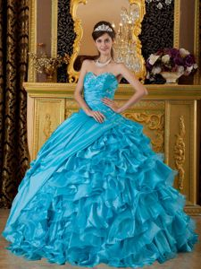 Teal Sweetheart Floor-length Sweet 16 Dresses with Beading and Ruffles in Crockett
