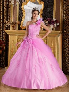 Pink One Shoulder Sweet Sixteen Quinceanera Dresses in Floor-length with Flowers