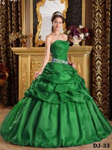 Strapless Floor-length Quinceanera Gown Dress in Green with Pick-ups in Cookville