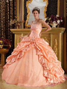 Beaded Pink Floor-length Sweet Sixteen Quinceanera Dress with Appliques in Ennis