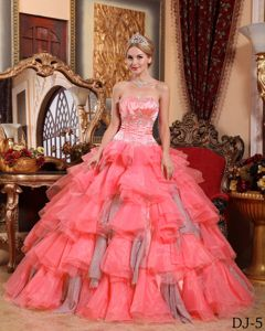 Beaded and Ruffled Watermelon Red Dress for Quinceanera with Lace Up in Frisco