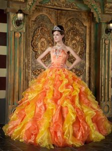 Orange Ruffled Strapless Princess Quinceanera Gown Dress with Appliques in Ona