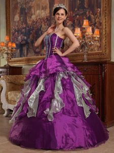 Sweetheart Floor-length Sweet Sixteen Quinceanera Dresses in Purple with Ruffles