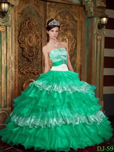 Strapless Princess Green Sweet Sixteen Quinceanera Dresses with Ruffles in Herald
