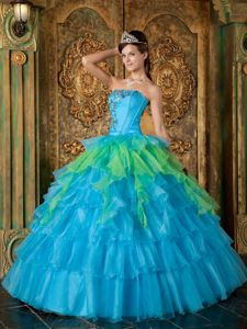 Blue Strapless Princess Dress for Quinceanera with Beading and Ruffles in Hercules