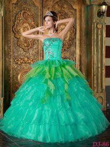 Strapless Floor-length Turquoise Sweet Sixteen Dresses with Beading and Ruffles