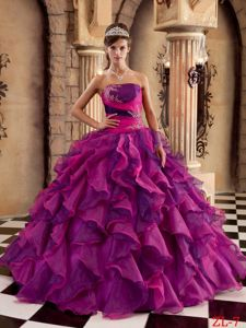 Strapless Floor-length Sweet Sixteen Quinceanera Dresses in Fuchsia with Ruffles