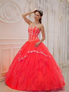 Red Sweetheart Floor-length Sweet Sixteen Dress with Appliques and Lace Up Back