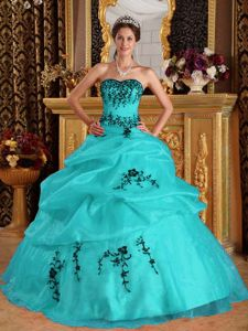 Turquoise Sweetheart Floor-length Quinceanera Dresses with Appliques in Encinitas