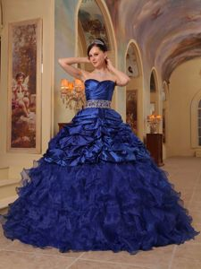 Sweetheart Floor-length Navy Blue Dress for Quinceanera with Beading and Ruffles