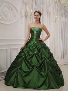 Hunter Green Beaded Strapless Princess Quinceanera Gown Dresses with Pick-ups