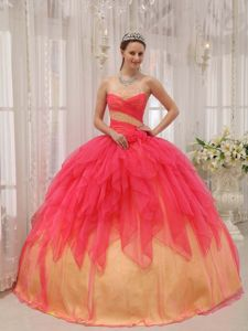 Watermelon Strapless Floor-length Dress for Quinceanera with Beading and Ruching