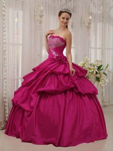 Best Violet Red Strapless Floor-length Princess Dress for Quinceanera with Beading