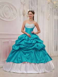 Teal and White Sweetheart Princess Dress for Quinceanera with Beading and Pick-ups