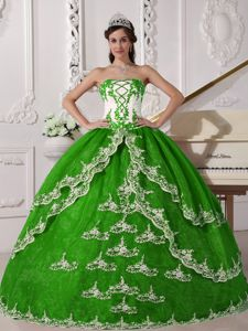 Green Strapless Floor-length Quinceanera Gown Dresses with Appliques in Cerritos