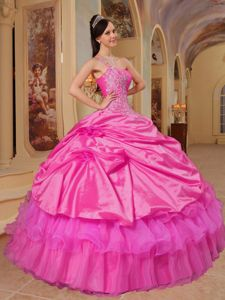 Sweet One Shoulder Sweet Sixteen Quinceanera Dresses in Hot Pink with Appliques