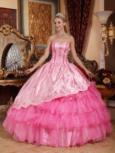 Ruffled Rose Pink Sweetheart Floor-length Dress for Quinceanera with Embroidery