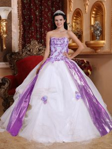 White and Purple Strapless Princess Dresses for Quinceanera with Flowers in Benton
