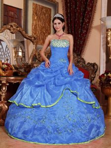 Strapless Floor-length Organza Quinceanera Dress in Blue with Appliques in Avalon