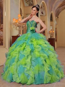 Cheap Yellow and Green Sweetheart Sweet Sixteen Quinceanera Dress with Ruffles