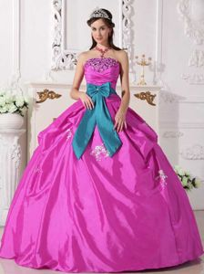 Hot Pink Strapless Floor-length Dresses for Quinceanera with Beading and Bowknot