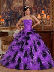 Ruffled Purple and Black Princess Dress for Quinceanera with Beading and Ruches