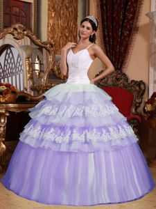 Lilac Spaghetti Straps Floor-length Sweet Sixteen Quinceanera Dress with Appliques