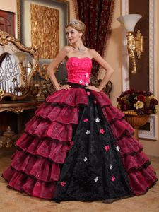 Sweetheart Princess Quinceanera Gowns in Pink and Black with Hand Made Flowers
