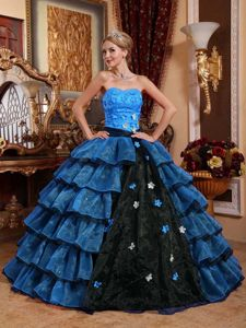 Blue Sweetheart Floor-length Sweet Sixteen Dress with Ruffles and Flower in Berne